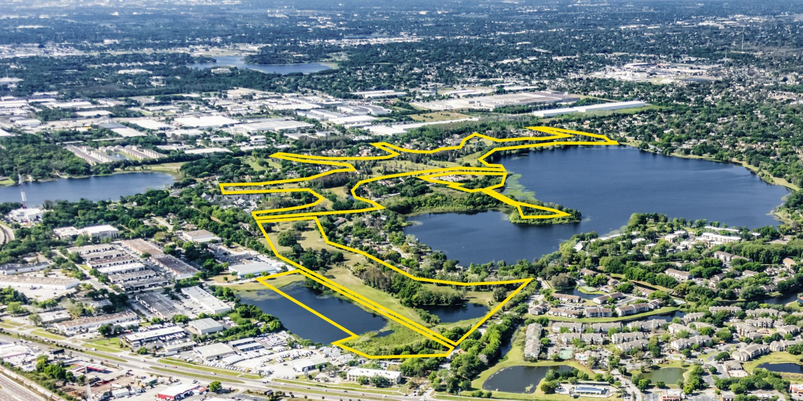An aerial view of Lake Orlando vacant development parcels.